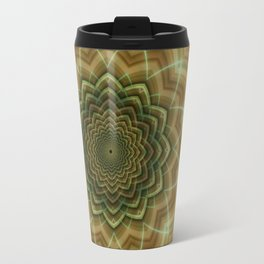 Mandala fractal flower orange Travel Mug