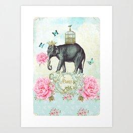 Paris Elephant Art Print