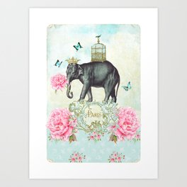 Paris Elephant Art Print