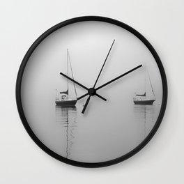 Foggy Harbor North Shore 6 BW Wall Clock