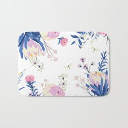 Floral pattern King Protea pink blush blue grey Bath Mat