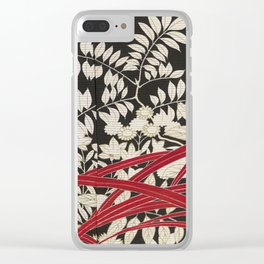 Kuro-tomesode with a Pair of Pheasants in Hiding (Japan, untouched kimono detail) Clear iPhone Case