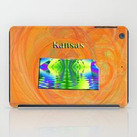 kansas iPad Cases featuring Kansas Map by Roger Wedegis