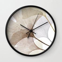 Brown Beige Skeleton Ginkgo Leaf, Modern Minimalist Botanical Photography Wall Clock