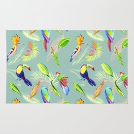 tropical pattern with bird parrot and toucan Rug