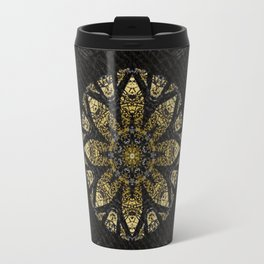 Boho chic Gold Lace Black  Flower Mandala Travel Mug