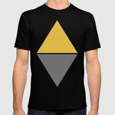 MODERN YELLOW TRIANGLES Black MEDIUM Mens Fitted Tee