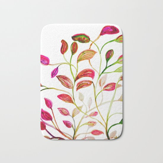 Red and Green Leaves! Happy Holidays! Bath Mat
