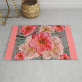 CORAL COLORED  PINK & CREAM DAYLILIES Rug
