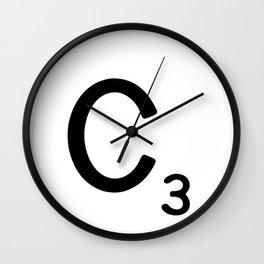 Letter C - Custom Scrabble Letter Wall Art - Scrabble C Wall Clock