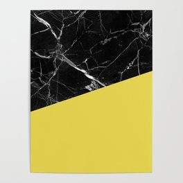 Black Marble and Meadowlark Yellow Color Poster