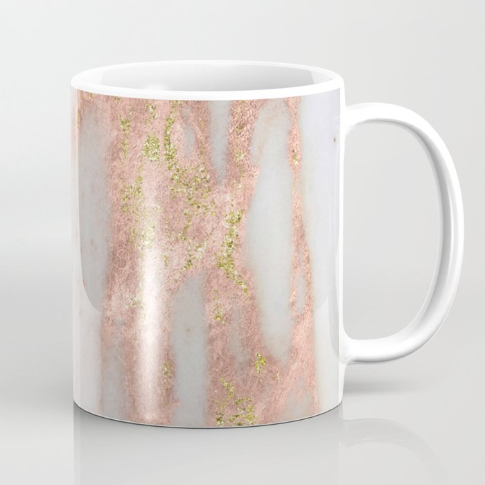 Rose Gold Marble with Yellow Gold Glitter Coffee Mug