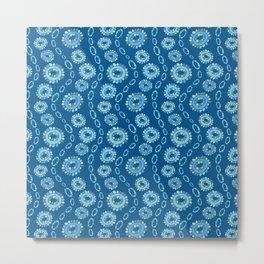 Wavy Toothy Flowers > Blue Metal Print
