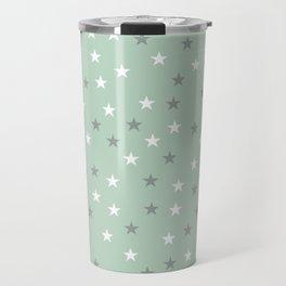 mint green stars Travel Mug