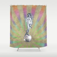 disco Shower Curtains featuring Disco Venus by Angelo Cerantola