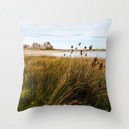 House between rocks in Brittany, Castel Meur III Throw Pillow
