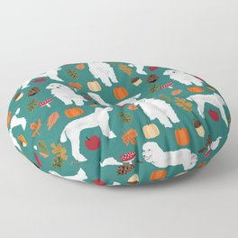 Poodle fall autumn leaves acorns pinecones cute standard white poodles Floor Pillow