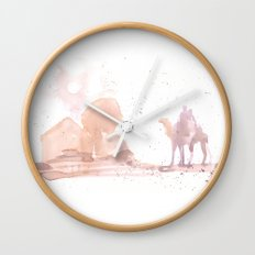 Watercolor landscape illustration_Egypt Wall Clock