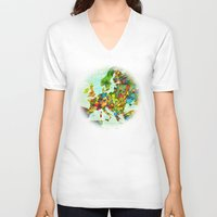 europe V-neck T-shirts featuring Europe Splatter Map by Gary Grayson