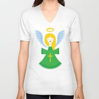 angel V-neck T-shirts featuring Angel by Wharton
