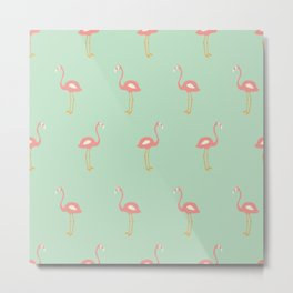 Flamingo Mint Pattern 009 Metal Print