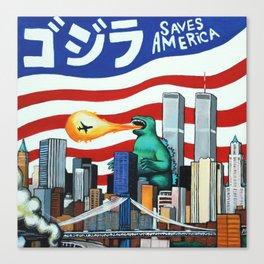 Godzilla saves America Canvas Print