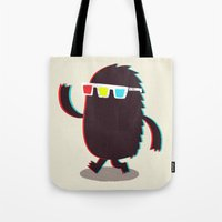 monster Tote Bags featuring MONSTER 3d by Monster Riot