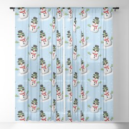 Cool Snowman with Shades and Adorable Smirk Sheer Curtain