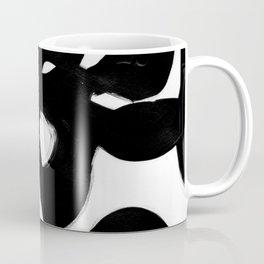 Maze Black & White Minimalist Abstract Mid century Ink Art Dark Brush Strokes Coffee Mug