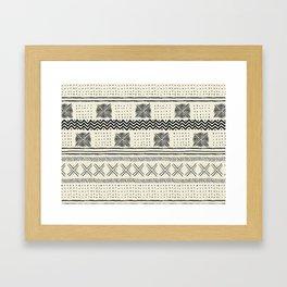 Mud Cloth Geometric Stripe in Cream Framed Art Print