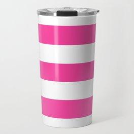 Rose bonbon - solid color - white stripes pattern Travel Mug