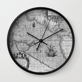 Old World Map print from 1589 Wall Clock