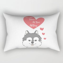 Stare At You All Day - Lovely Husky Mermaid - Happy Valentines Day Rectangular Pillow