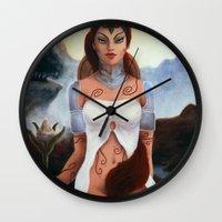 borderlands Wall Clocks featuring Warrior Guardian of Fae Borderlands by Rudrani Devi Das