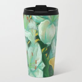 White Lilies and Palm Leaf Travel Mug