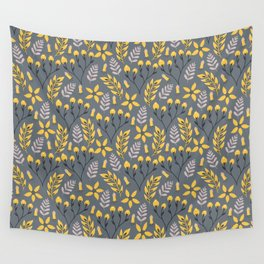 Yellow Floral Gray Wall Tapestry