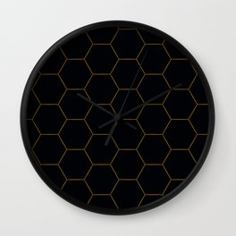 Black with fine line gold hexagon pattern Wall Clock
