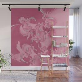 Pink Fractal Flowers Wall Mural