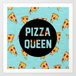 Pizza Queen - Blue Art Print