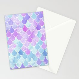 Cute Girls Mermaid Scales Pattern, Pink, Purple, Teal Stationery Cards