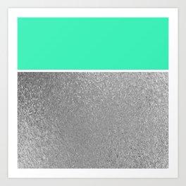 Color Brite: Aqua + Silver Art Print