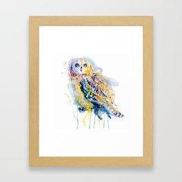 Short Eared Owl Watercolor painting Framed Art Print