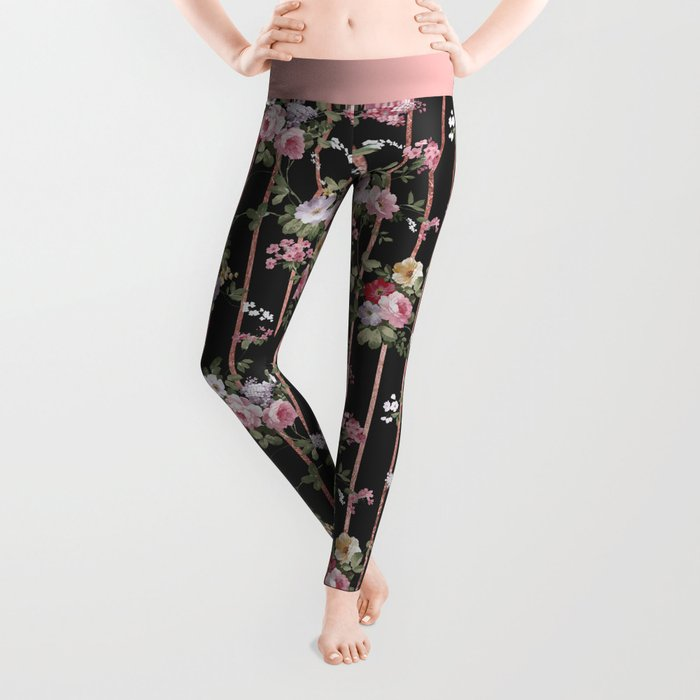 Elegant faux rose gold black stripes vintage blush pink lavender floral Leggings