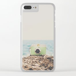 "the ""dreamer"", a mint green camera with the ocean behind it Clear iPhone Case"