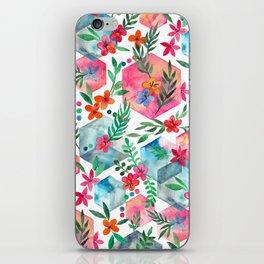Whimsical Hexagon Garden on white iPhone Skin