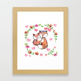 Mama Fox and Baby Framed Art Print