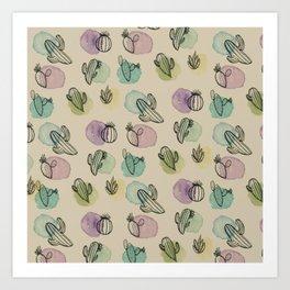 Cacti Watercolor Pattern Art Print