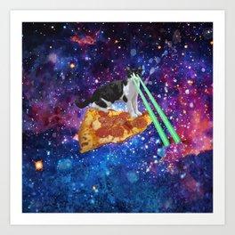 Galaxy Laser Beam Eyes Cat on Pizza Art Print