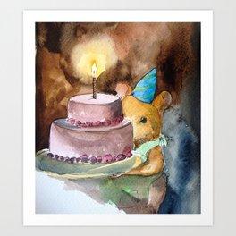Ginger Celebrates with Cake Art Print