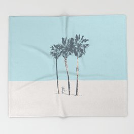 Palm trees on a solitary beach Throw Blanket